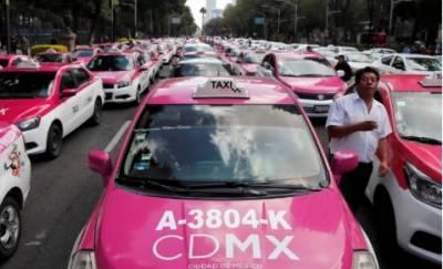 میکسکو میں آن لائن ٹیکسی سروس کے خلاف مقامی ٹیکسی ڈرائیوروں کااحتجاج