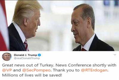 امریکا کے ساتھ معاہدہ: ترکی نے شام میں 120 گھنٹے کے لیے جنگ بند کر دی
