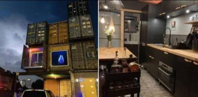 کنٹینرز سے تیار کردہ تین منزلہ خوبصورت گھر