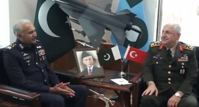 ترکی کی مسلح افواج کے چیف آف جنرل سٹاف جنرل یاسر گلرکی پاک فضائیہ کے سربراہ مجاہد انورخان سےملاقات،پیشہ ورانہ امورپرتبادلہ خیال