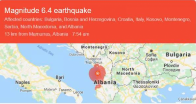 البانیہ میں خوفناک زلزلے میں 6افراد ہلاک،سیکڑوں زخمی ہوگئے