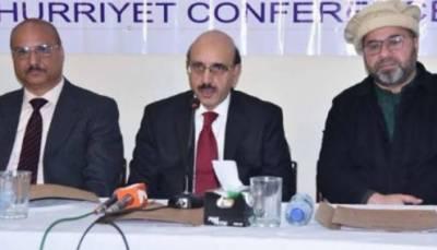 حکومت حریت قیادت کے تعاون سے مقبوضہ کشمیر میں انسانیت کیخلاف جرائم کو اُجاگر کرتی رہے گی. سردار مسعود خان