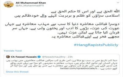 سرعام پھانسی کی مخالفت پر علی محمد خان کا فواد چوہدری کو کرارہ جواب