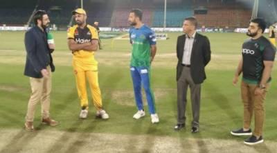پی ایس ایل: پشاور زلمی کا ملتان سلطانز کے خلاف ٹاس جیت کر پہلے فیلڈنگ کا فیصلہ ، کوئی غیر ملکی کھلاڑی پشاور ٹیم کا حصہ نہیں