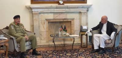 جنرل قمر جاوید باجوہ کی افغان صدر اشرف غنی سے ملاقات
