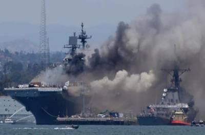 امریکی نیوی کے بحری جہاز میں دھماکے سے آگ بھڑک اٹھی، 21 افراد زخمی