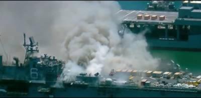 امریکی بحریہ کے جنگی جہاز میں لگی آگ دوسرے دن بھی نہ بجھ سکی