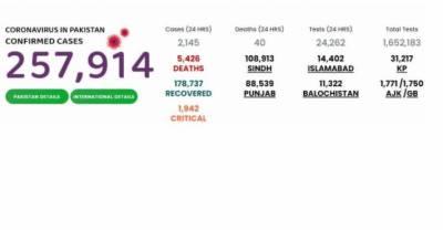 پاکستان میں کورونا وائرس کے 2 ہزار85نئےکیسز رپورٹ