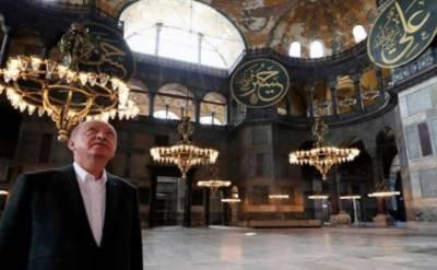 """مسجد کی تیاری کا جائزہ لینے ترک صدر رجب طیب اردوان نے """" آیا صوفیہ' کا دورہ کیا"""