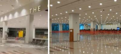 ناقص تعمیر شدہ اسلام آباد ائیرپورٹ کی سیلنگ بارش کے باعث گرگئی