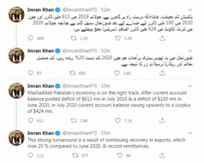 پاکستان کی معیشت، ماشاءاللہ درست راہ پر گامزن ہے : وزیراعظم