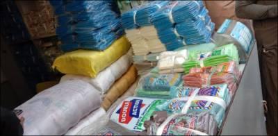 مختلف شہروں میں ممنوعہ پلاسٹک بیگز کے خلاف کریک ڈاون، ممنوعہ پلاسٹک بیگز ضبط