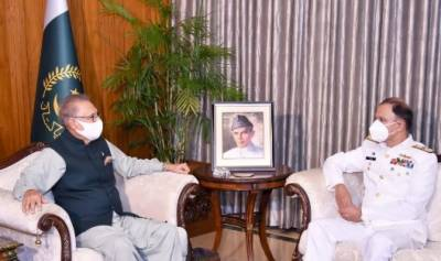 صدر مملکت عارف علوی سے چیف آف نیول اسٹاف ایڈمرل محمد امجد خان نیازی کی ملاقات