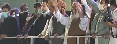 کراچی: پی ڈی ایم جلسہ ، بلاول بھٹو ،فضل الرحمان اور مریم نواز اسٹیج پر موجود