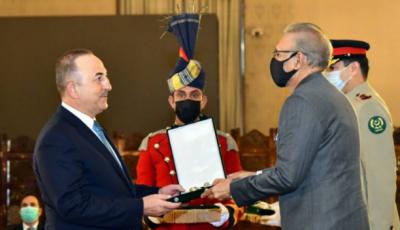 صدرمملکت نےترک وزیرخارجہ کوہلال پاکستان کااعزازعطاکردیا