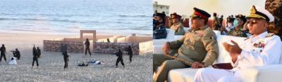 امن مشق 2021 : چیئرمین جوائنٹ چیفس آف اسٹاف کمیٹی کا بحری امن مشق کا معائنہ