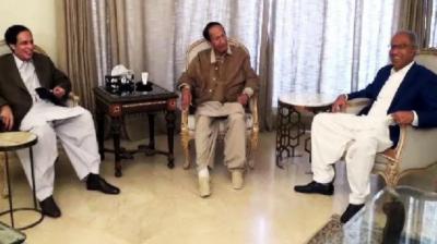 پی ٹی آئی کے امیدوار حفیظ شیخ کی چوہدری برادران سے ملاقات; عبدالحفیظ شیخ کو بھرپور سپورٹ کریں گے، چوہدری برادران