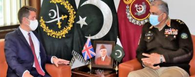 آرمی چیف جنرل قمر جاوید باجوہ سے برطانوی ہائی کمشنر کی ملاقات