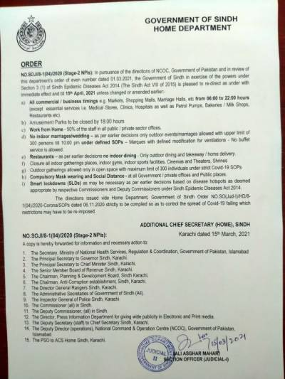 سندھ میں15اپریل تک تمام کاروباری مراکز رات 10 بجے بند کرنے کا نوٹیفکیشن جاری