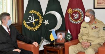 پاکستان میں یوکرائن کے سفیر کی چیف آف آرمی اسٹاف جنرل قمر جاوید باجوہ سے ملاقات