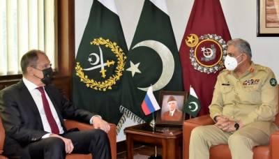 آرمی چیف سے روسی وزیرخارجہ کی ملاقات، افغان امن عمل پر تبادلہ خیال