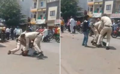 ماسک پہننے میں غلطی پر بھارتی پولیس کا رکشہ ڈرائیور پر وحشیانہ تشدد, کوئی اسکی مدد کرنے آگے نہیں بڑھا