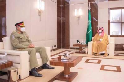 آرمی چیف کی سعودی ولی عہد سے ملاقات، باہمی دلچسپی کے امور پر گفتگو