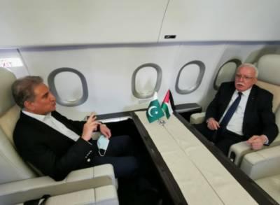 وزیر خارجہ مخدوم شاہ محمود قریشی کی فلسطینی وزیر خارجہ ڈاکٹر ریاض المالکی کے ساتھ ملاقات