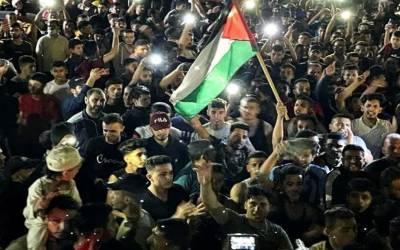 اسرائیل اور حماس کی جنگ بندی : غزہ میںلوگ خوشی سے سڑکوں پر نکل آئے۔
