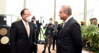 وزیر خارجہ مخدوم شاہ محمود قریشی کی اقوام متحدہ ہیڈکوارٹر نیویارک میں اقوامِ متحدہ سلامتی کونسل کے صدر ایمبیسڈر ژانگ جُن سے غیر رسمی ملاقات