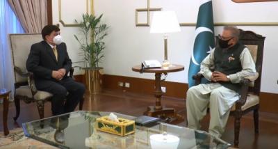 صدر سے اردن اور فلسطین میں پاکستان کے نامزد سفیر جنرل ریٹائرڈ سجاد علی خان کی ملاقات