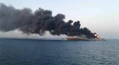 ایرانی بحریہ کا جہاز آگ لگنے کے باعث خلیج عمان میں ڈوب گیا