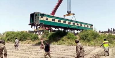 گھوٹکی ٹرین حادثہ: پٹٹری سے ٹرین کے انجن ، بوگیاں ہٹادی گئی ہیں: آئی ایس پی آر