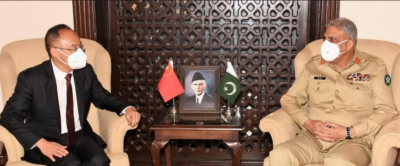 چینی سفیر کی آرمی چیف سے ملاقات،، چین پاکستان اقتصادی راہداری میں پیشرفت اور علاقائی سلامتی کی صورتحال پر تبادلہ خیال