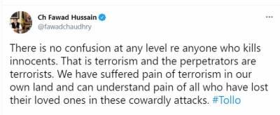 جو کوئی بھی بے گناہوں کو قتل کرتا ہے وہ دہشت گردی ہے اور اس میں ملوث افراد دہشت گرد ہیں: وفاقی وزیر چوہدری فواد حسین