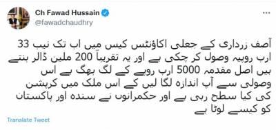 آصف زرداری کے جعلی اکاؤنٹس کیس میں اب تک نیب 33 ارب روپیہ وصول کر چکی ہے۔وفاقی وزیر اطلاعات