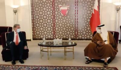 وزیر خارجہ مخدوم شاہ محمود قریشی کی منامہ میں بحرین کے ولی عہد، نائب سپریم کمانڈر اور وزیر اعظم شہزادہ سلمان بن حمد بن عیسی الخلیفہ سے ملاقات