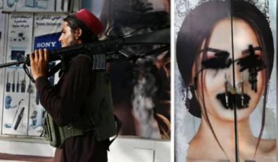 طالبان نے دیواروں پر لگے خواتین ماڈلز کی تصاویر پر سیاہ رنگ پھیر دیا