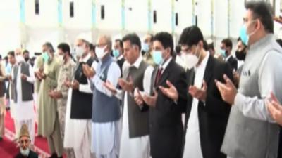 سید علی گیلانی کی فیصل مسجد میں غائبانہ نماز جنازہ ادا،ڈی جی آئی ایس آئی , فواد چوہدری، معید یوسف اوروزیراعظم آزاد کشمیرسردارعبدالقیوم نیازی کی شرکت