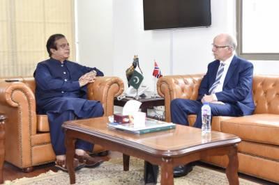 ناروے کے سفیر کیجل گنار ایرکسن کی وفاقی وزیر سائنس و ٹیکنالوجی سینیٹر سید شبلی فراز سے ملاقات