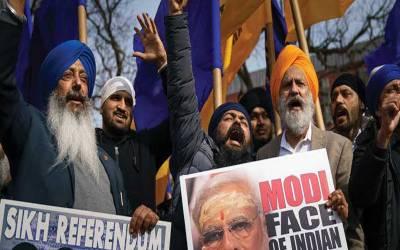 مودی کی واشنگٹن آمد ,سکھ مظاہرین کا احتجاج