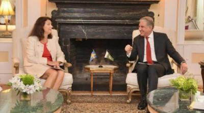 وزیر خارجہ شاہ محمود قریشی کی نیویارک میں سویڈن ہم منصب اینا لنڈے سے ملاقات