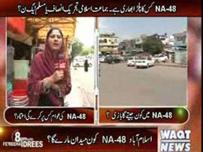 8pm with Fareeha Idrees (NA 48-Islamabad) 09 May 2013
